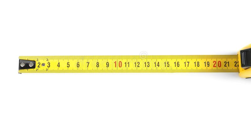 Tape measure on background. Tape measure on white background royalty free stock image