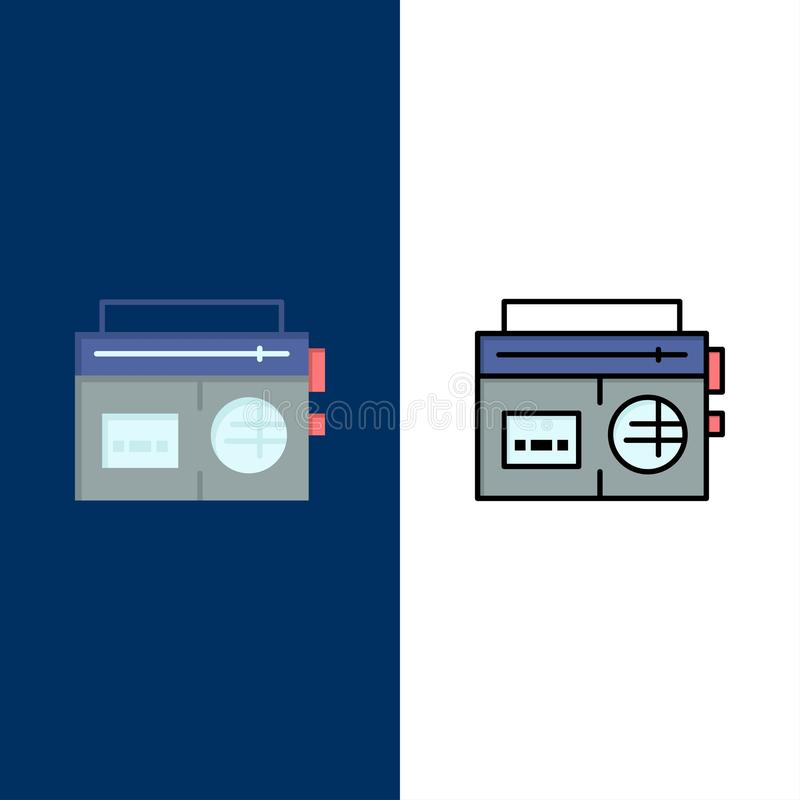 Tape, Radio, Music, Media  Icons. Flat and Line Filled Icon Set Vector Blue Background stock illustration