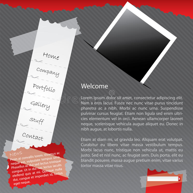 Taped website with photo vector illustration