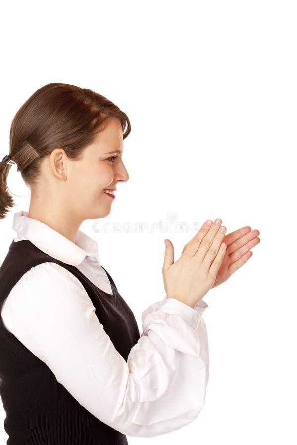 Tapes attrayantes de femme d'affaires avec des mains photos libres de droits