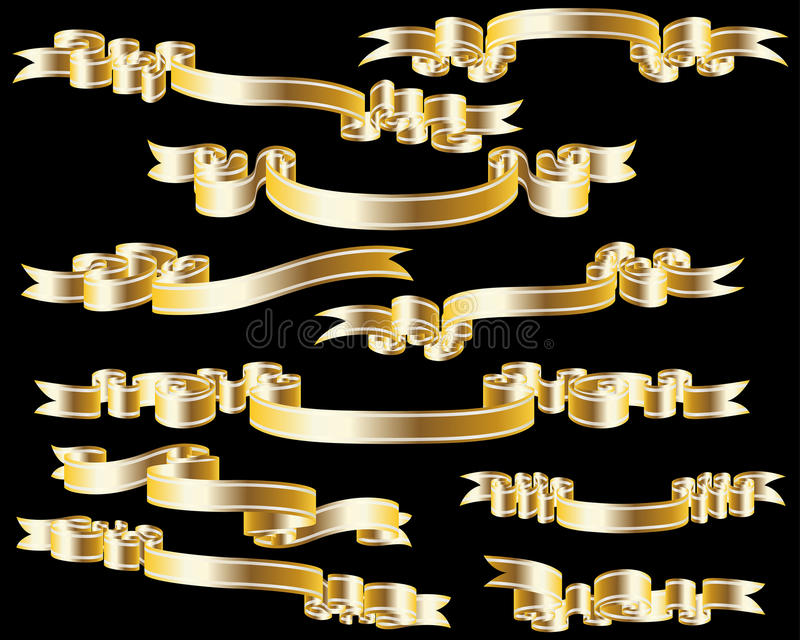 Tapes set. Set of different vector ribbons for design use royalty free illustration