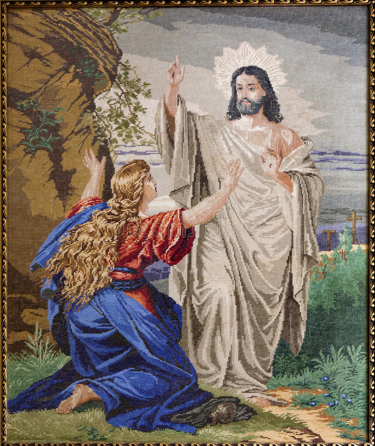 Tapestry of Apparition of resurrected Jesus to Mary of Magdalene stock photo