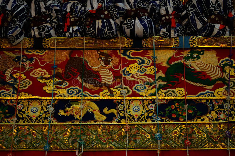 Tapestry of Gion festival float, Kyoto Japan. Traditional festival of Gion Matsuri, held in Kyoto on summer, every float is decorated with old tapestry royalty free stock photo