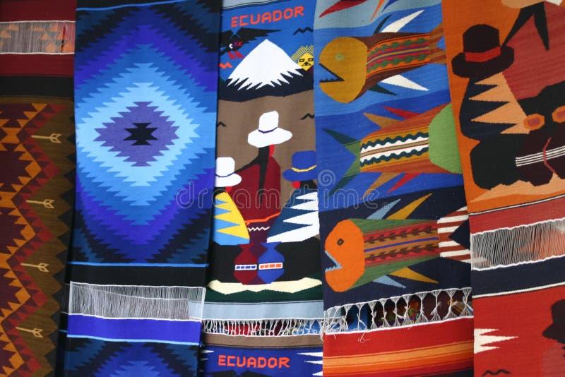 Tapestry in Otavalo stock photo
