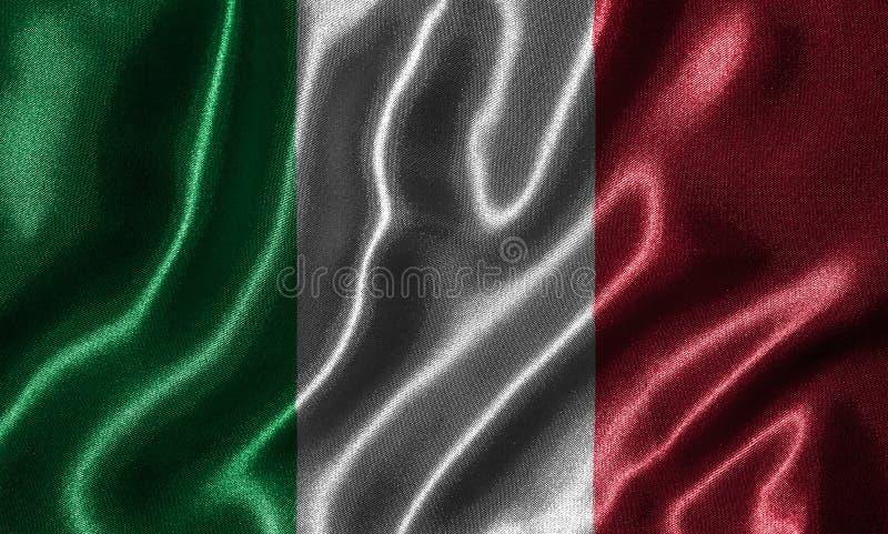 Tapet av den Italien flaggan och den vinkande flaggan vid tyg royaltyfria bilder
