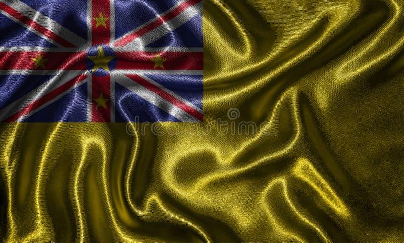 Tapet av den niuiska flaggan och den vinkande flaggan vid tyg arkivfoton