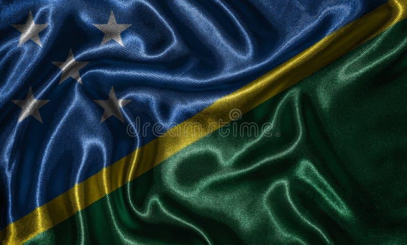 Tapet av den Solomon Islands flaggan och den vinkande flaggan vid tyg arkivbild