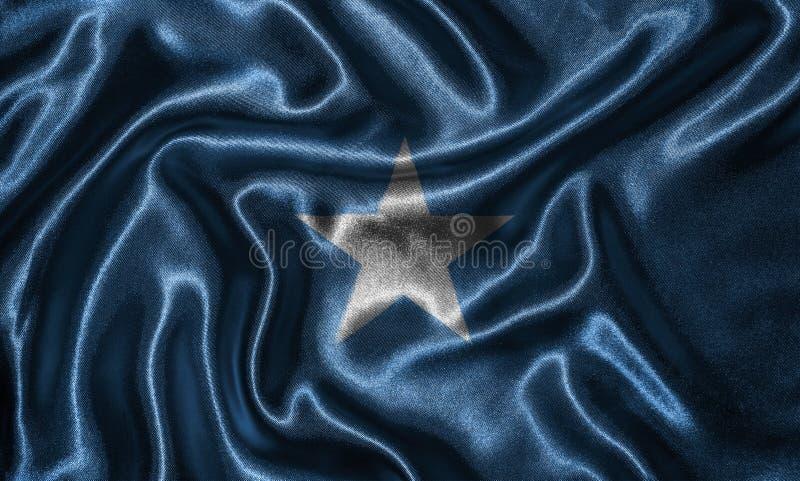 Tapet av den Somalia flaggan och den vinkande flaggan vid tyg fotografering för bildbyråer