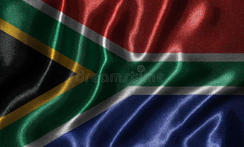 Tapet av den Sydafrika flaggan och den vinkande flaggan vid tyg royaltyfria bilder