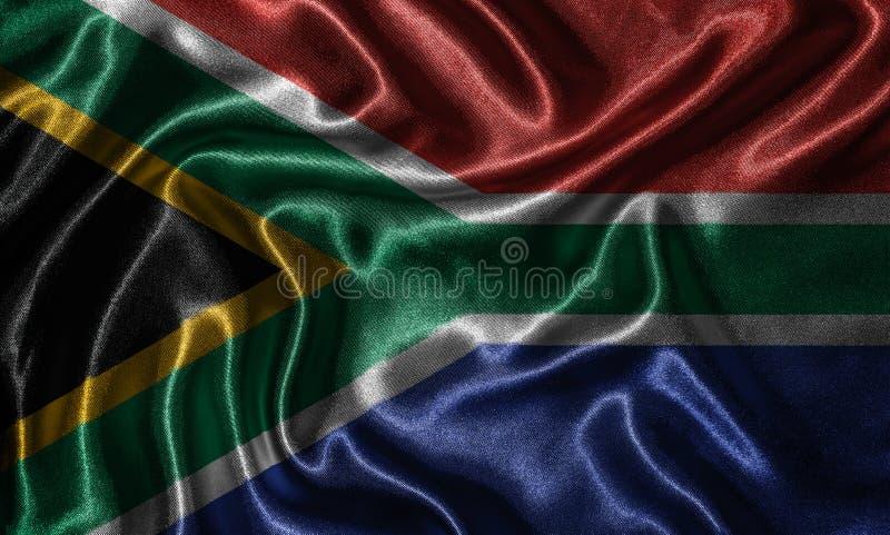 Tapet av den Sydafrika flaggan och den vinkande flaggan vid tyg arkivfoto