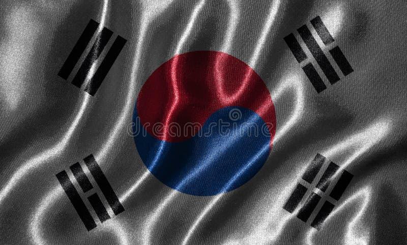 Tapet av den Sydkorea flaggan och den vinkande flaggan vid tyg royaltyfri fotografi