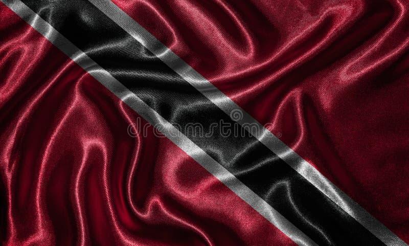 Tapet av den Trinidad och Tobago flaggan och den vinkande flaggan vid tyg fotografering för bildbyråer