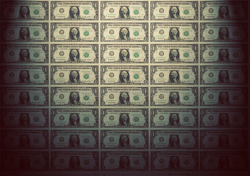 Tapet av en dollar sedlar Tappninglynne arkivbild
