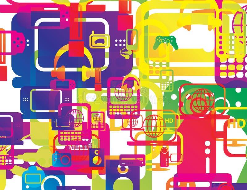Tapet för bakgrund för teknologiabstrakt begreppformer royaltyfri illustrationer