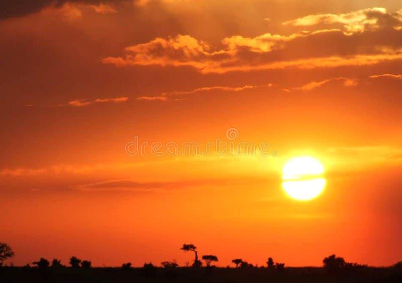 Tapet för bakgrund för solnedgånglandskapbild fotografering för bildbyråer