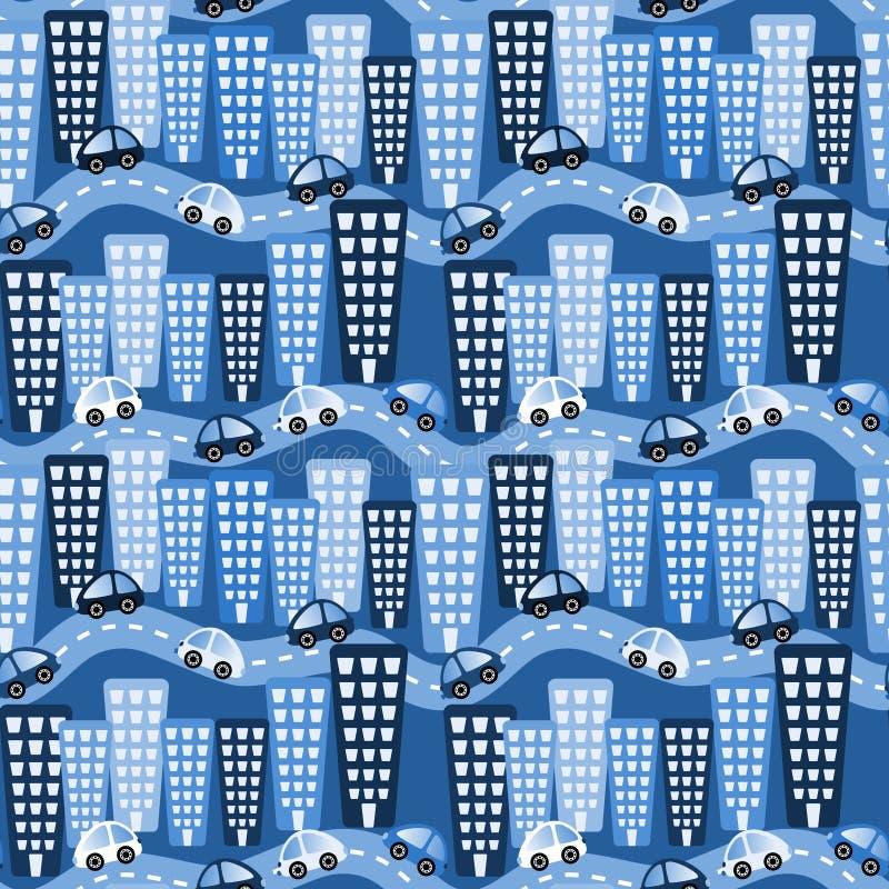 Tapet för bilar för neonstadsnatt royaltyfri illustrationer