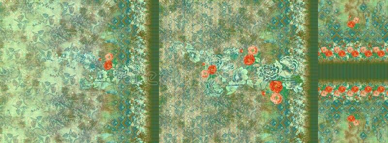 Tapet för digitalt för design för dräktkurti färgrik motiv för blomma stock illustrationer
