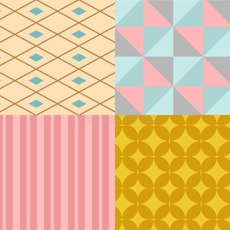 Tapet för illustration för vektor för bakgrund för textur för abstrakt modell för geometrifyrkant sömlös geometrisk grafisk stock illustrationer