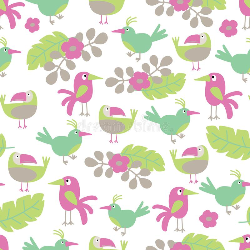 Tapet för modell för vektorstrand gladlynt sömlös av tropiska gröna sidor av sömlösa palmträd, blommor och fåglar royaltyfri illustrationer