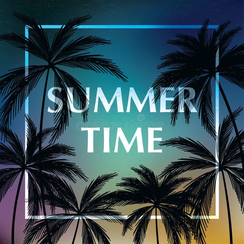 Tapet för sommartid med bakgrund för tropiska växter i aftonen med färgrikt ljus vektor illustrationer