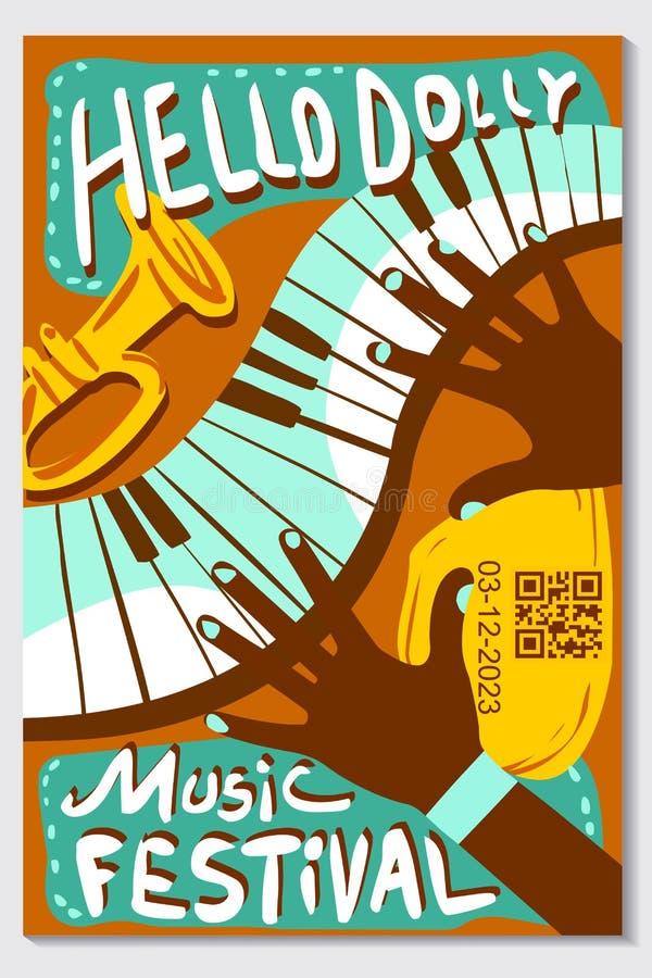 Tapet för tappning för vektor för musikfestival stock illustrationer