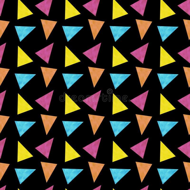 Tapet för textiler för sömlösa för modelltrianglar abstrakta för modell för vattenfärg för illustration texturer för bakgrunder d royaltyfri illustrationer