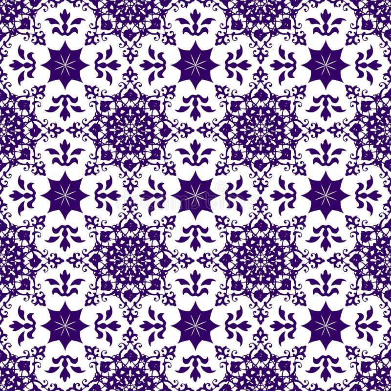 Tapet för textur för modell för blått för dekorativ tappning för österlänningabstrakt begrepp blom- sömlös arabisk kinesisk genom royaltyfri illustrationer