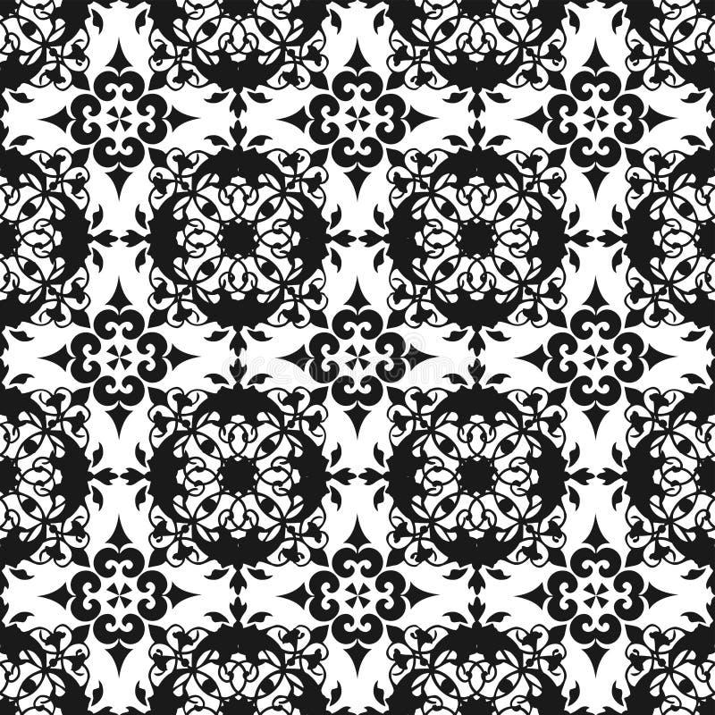 Tapet för textur för modell för dekorativt för österlänningsvart blom- härligt kungligt för tappning abstrakt begrepp för vår söm stock illustrationer