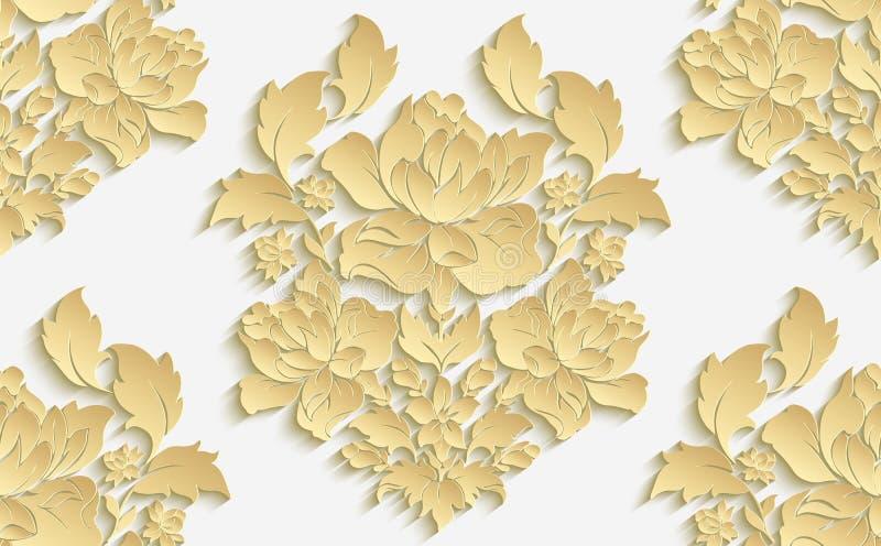 Tapet i stilen av barock Damast sömlös blom- modell för vektor ändra för den lätta redigerbara fullt den rose vektorn illustratio stock illustrationer