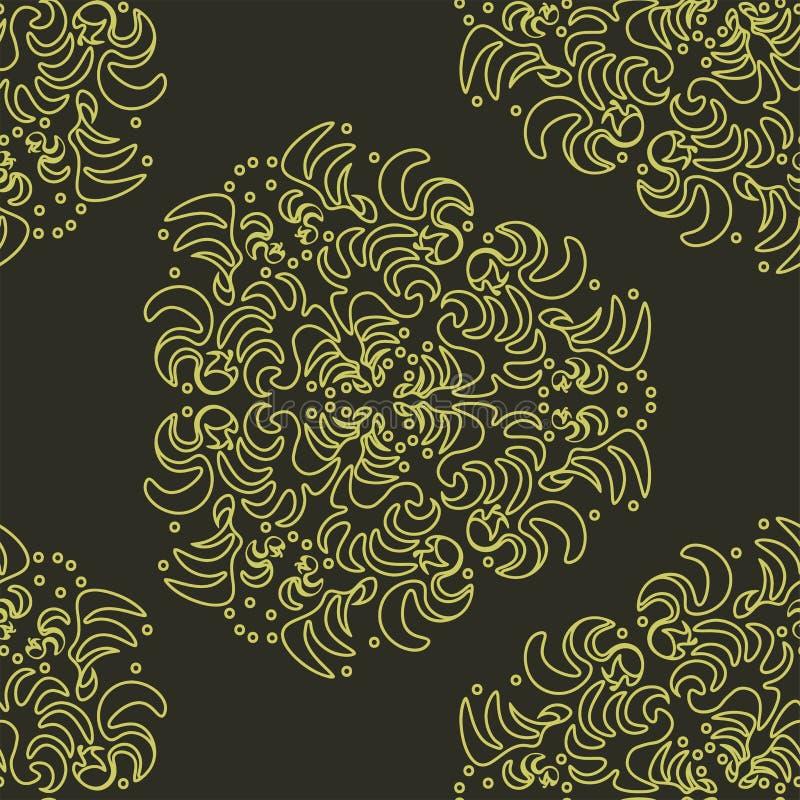 Tapet i stilen av barockt som är damast En sömlös vektorbakgrund stock illustrationer