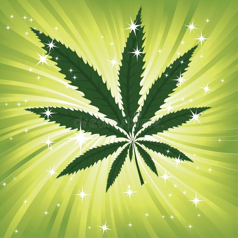 Tapet med gröna leavs av cannabis stock illustrationer