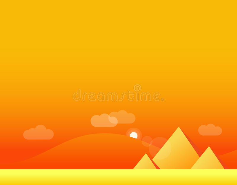 Tapeta krajobraz pustynia i ostrosłupy, wektor ilustracji