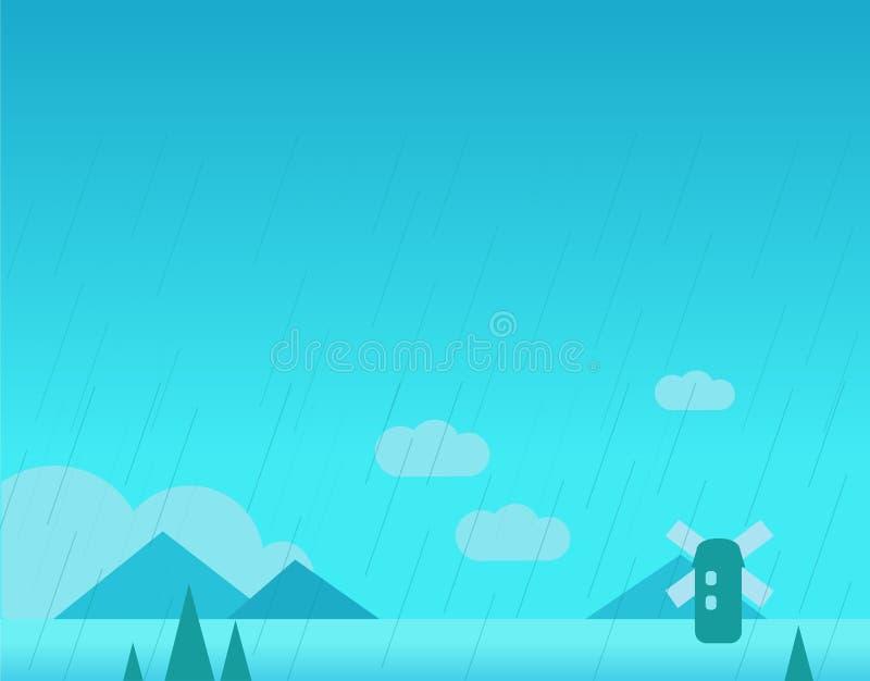 Tapeta krajobraz z górami, deszcz i ilustracja wektor