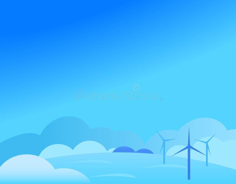 Tapeta krajobraz z wiatraczkiem w zimie ilustracji