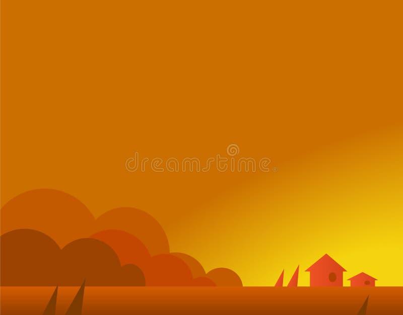 Tapeta krajobraz z wioska domami w jesieni ilustracji