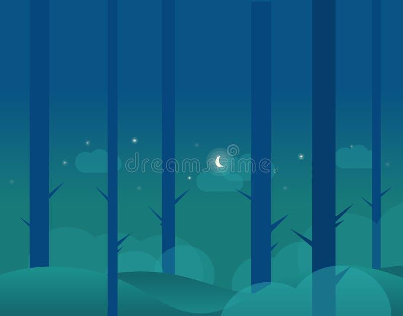 Tapeta krajobraz zimy księżyc i las ilustracji