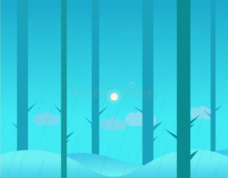 Tapeta krajobraz zimy lub jesieni las i royalty ilustracja