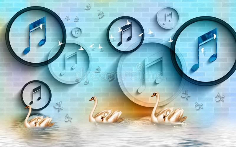 Tapeta muralowa 3d z kręgami i pierścieniami Znaki muzyczne na tle muru cegieł złoty łabędź w wodzie, ptakach i kwiecie zdjęcie stock