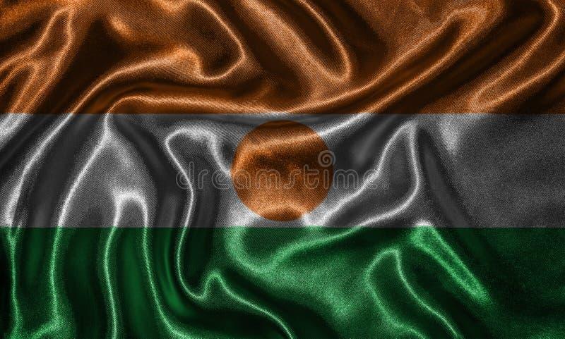 Tapeta Niger flaga i falowanie zaznaczamy tkaniną obraz stock