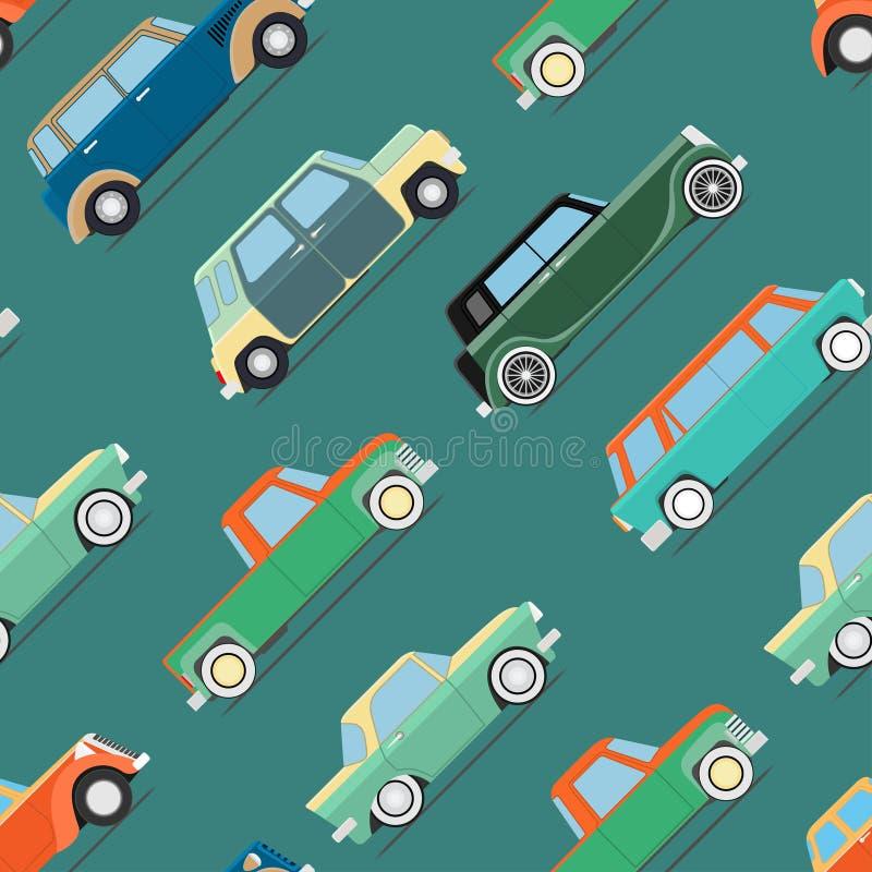 Tapeta ustaleni roczników samochody ilustracja wektor