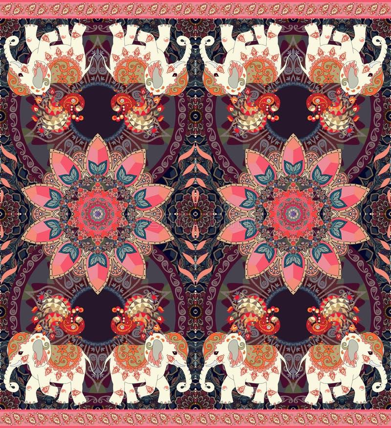 Tapete étnico do vintage com elefantes maravilhosos, os pavões feericamente, a flor da mandala e a beira de paisley ilustração royalty free