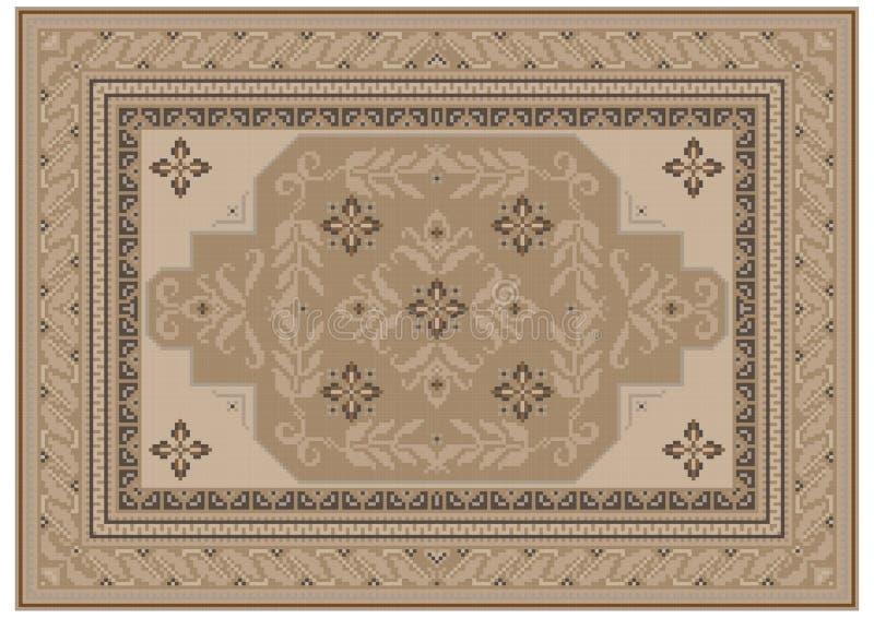 Tapete com o ornamento étnico de máscaras bege e um teste padrão floral na luz - máscaras marrons no centro ilustração stock
