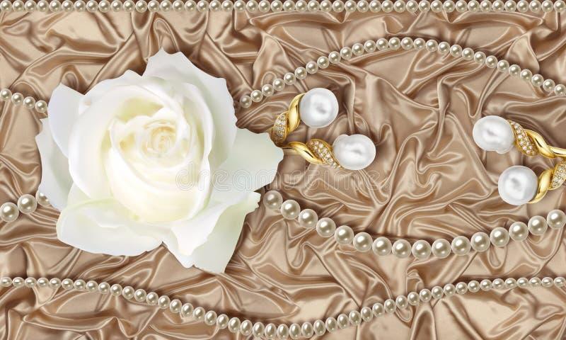 Tapete 3D, weiße Rose, Schmuck und Perlen auf beige Seidenhintergrund stock abbildung