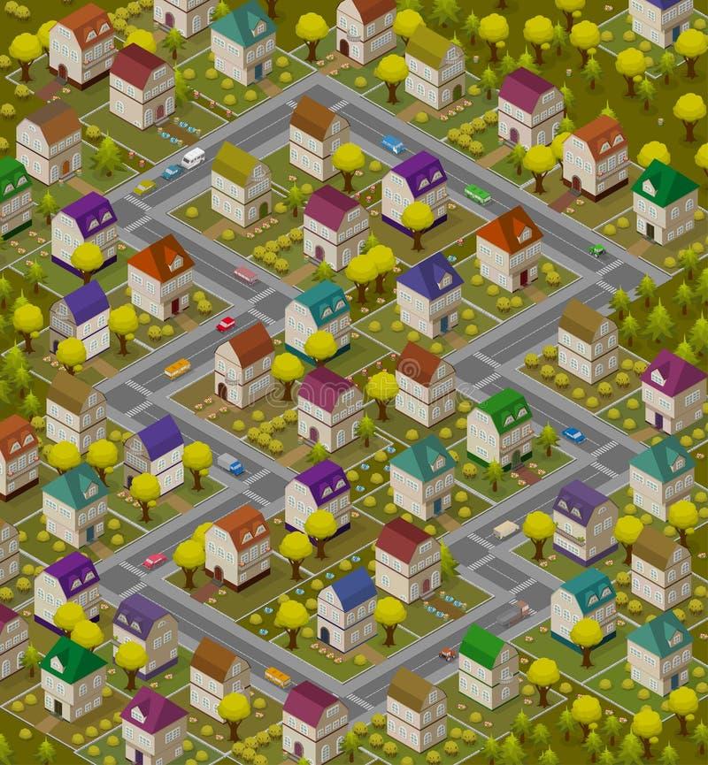 Tapete das crianças - tapete isométrico para o jogo com casas e carros ilustração do vetor