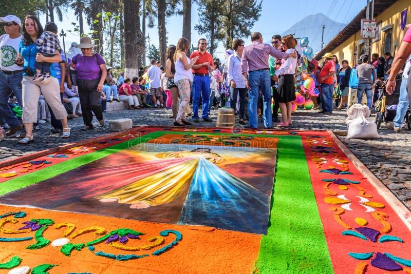 Tapete do Sexta-feira Santa, Antígua, Guatemala fotografia de stock royalty free