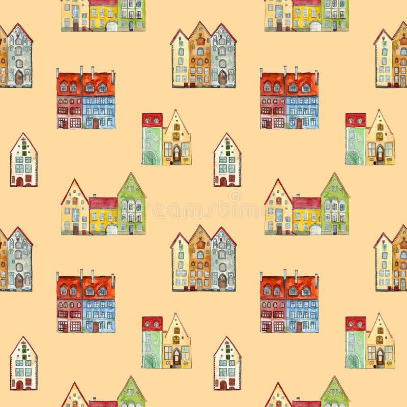 Tapete für Kinder von Karikaturaquarellhäusern lizenzfreie abbildung