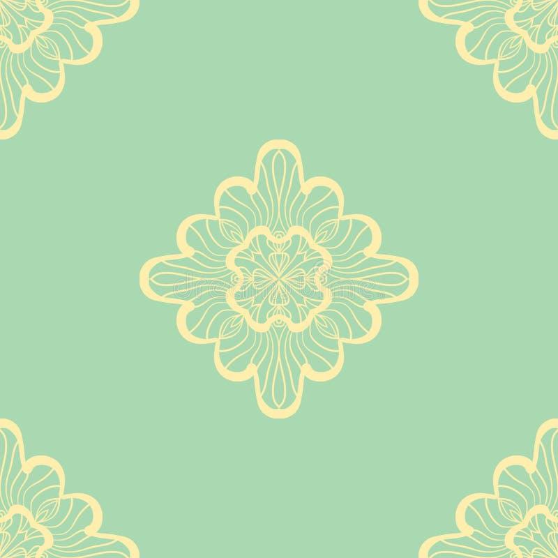 Tapete im abstraktem Artgrün und -GELB Ein nahtloser Vektorhintergrund Symmetrische Verzierung Grafisches Vektormuster lizenzfreie abbildung