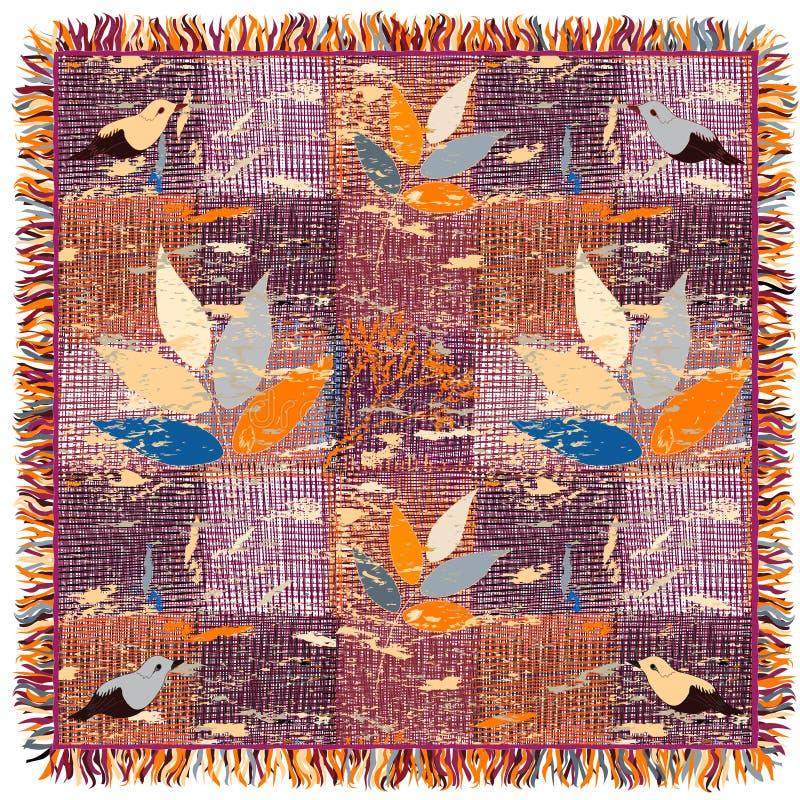 Tapete listrado e quadriculado do grunge colorido com teste padrão floral, pássaros e franja ilustração do vetor