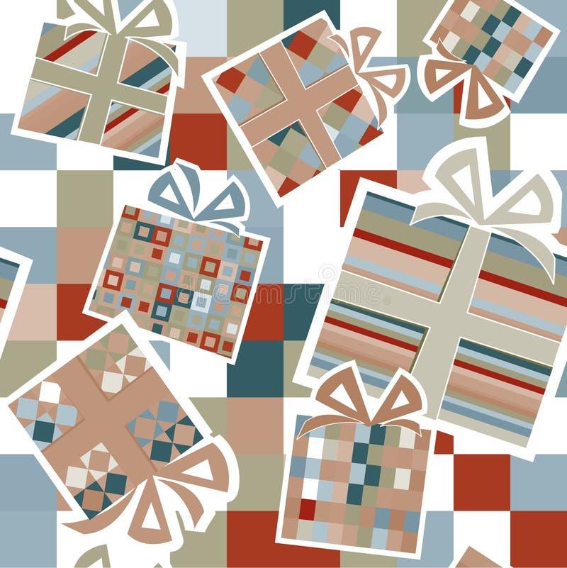 Tapete mit Geschenkkästen stock abbildung