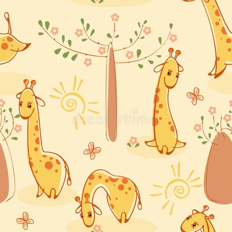 Tapete mit Giraffen stock abbildung